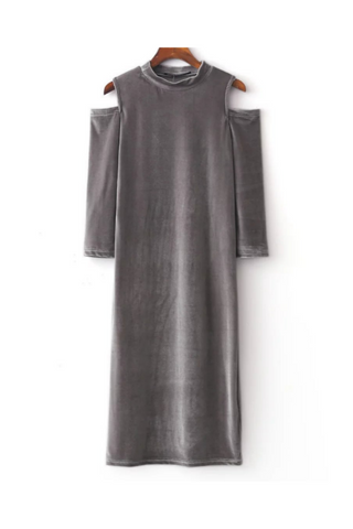 Velvet Cold Shoulder Midi Dress In Gray
