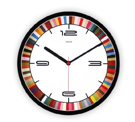 Fashion Art Wall Clock Color Bar In Black