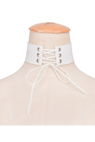White Lace Up Choker