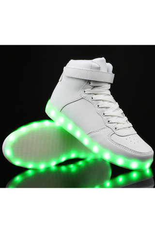 Unisex LED Light Lace Up Luminous Sneaker In White