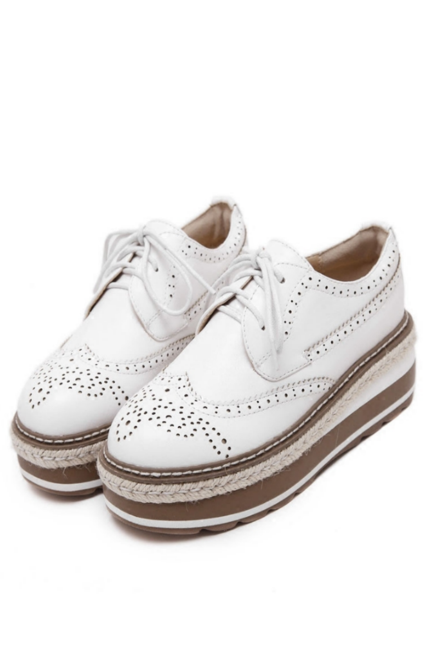 White Oxford Platform Shoes