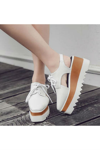 White Cut-out Platform Shoes
