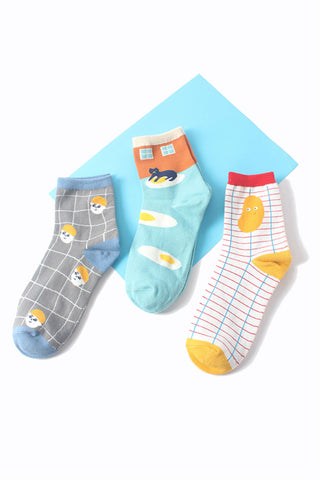 Grid Cartoon Socks-3 Pairs