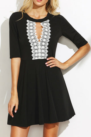 Lace Stitching Black Dress