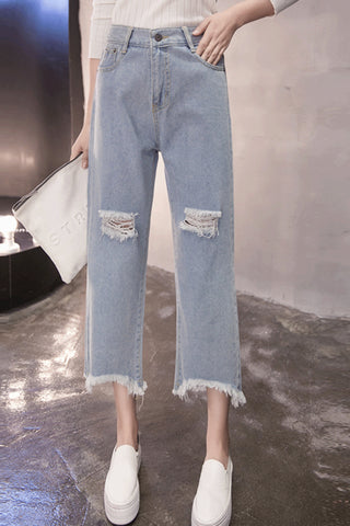Rippied Ankle Jeans
