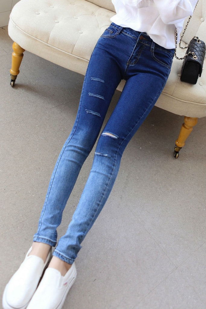 Gradient Ripped Skinny Jeans