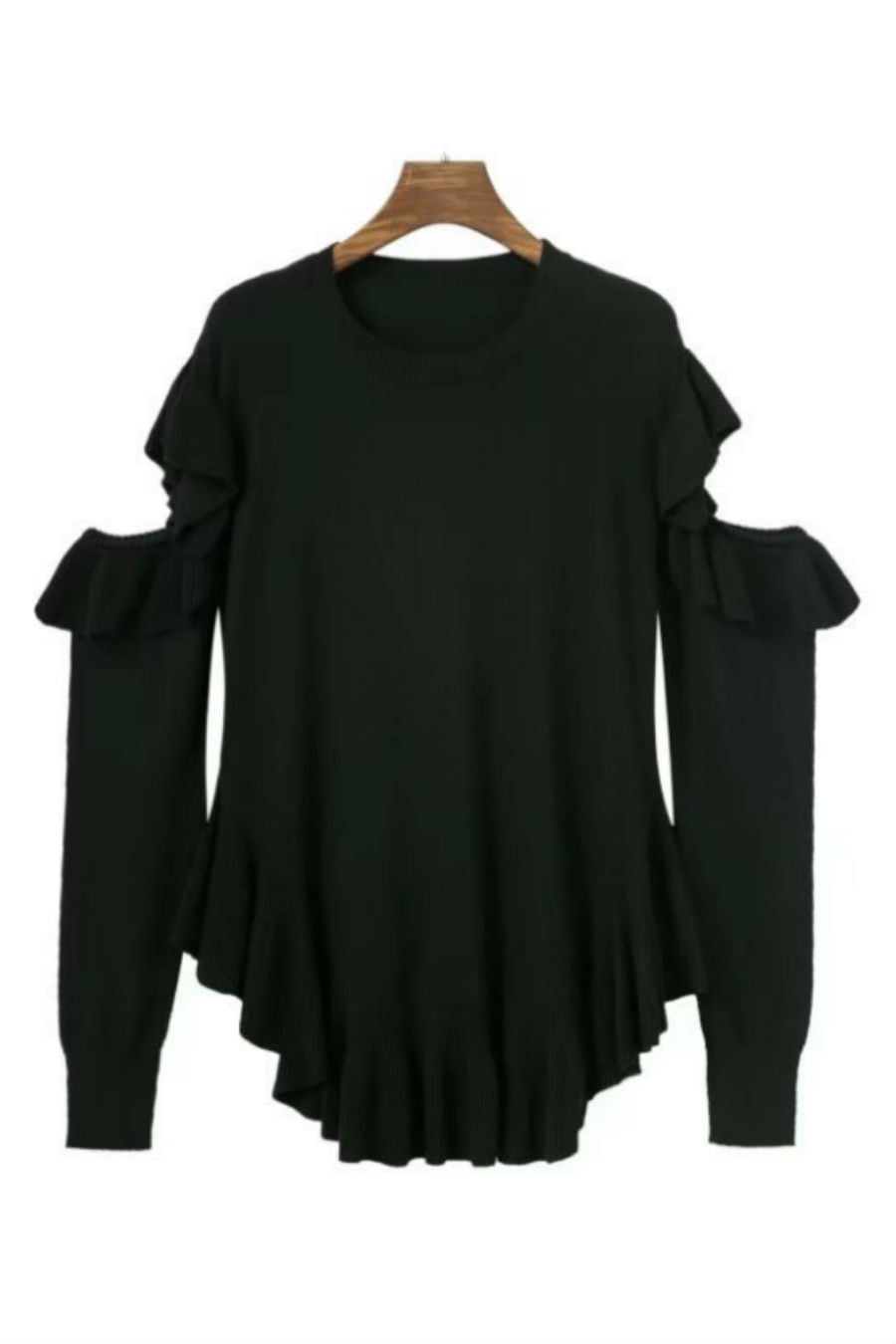 Black Cut Out Ruffle Sweater
