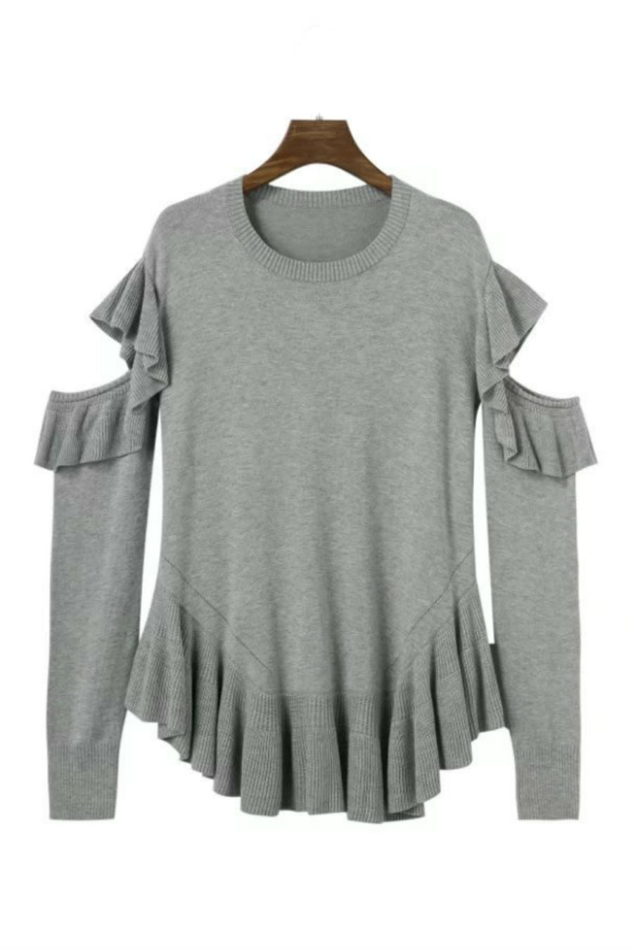 2b6b589943a Gray Cut Out Ruffle Sweater. Tap to expand
