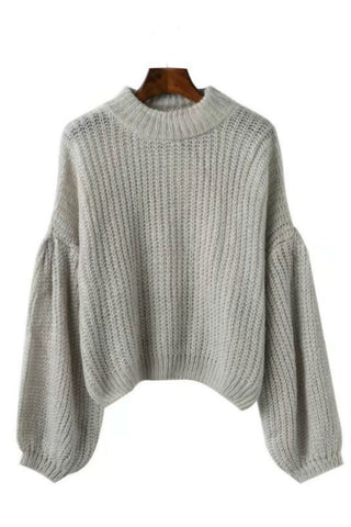 Solid Lantern Sleeve Jumper