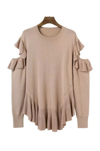 Beige Cut Out Ruffle Sweater