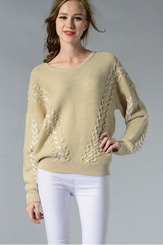 Bandage Round Neck Sweater