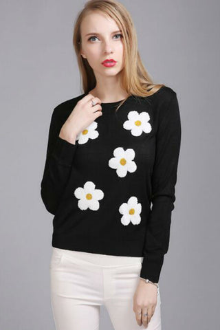 Floral Cute Black Sweater