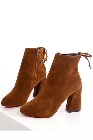Brown Back Lace Up Booties