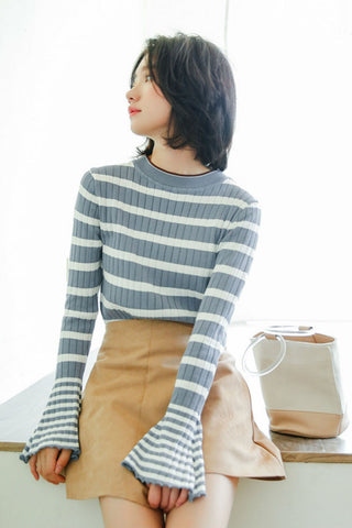 Bell Sleeves Striped Sweatshirt