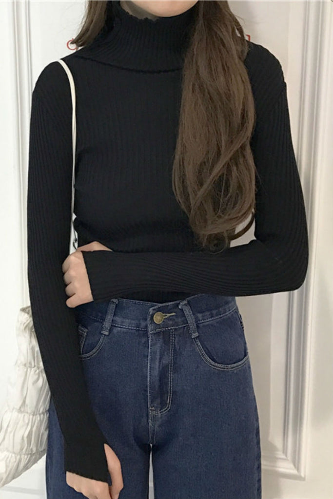 Turtleneck Solid Slimming Sweater