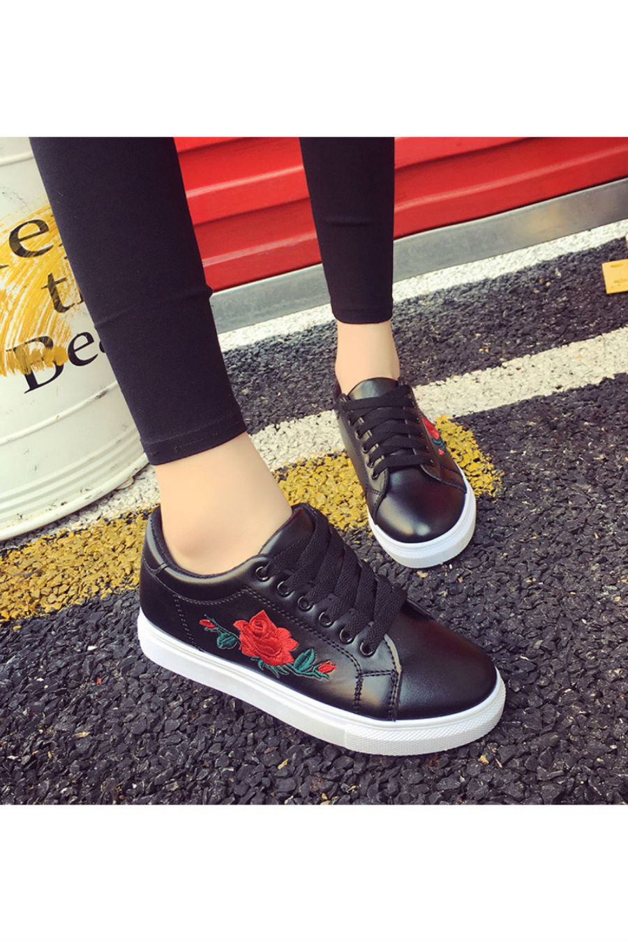 Floral Embroidered Black Sneakers