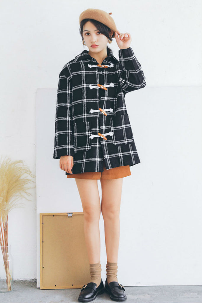 College Black Plaid Woolen Coat