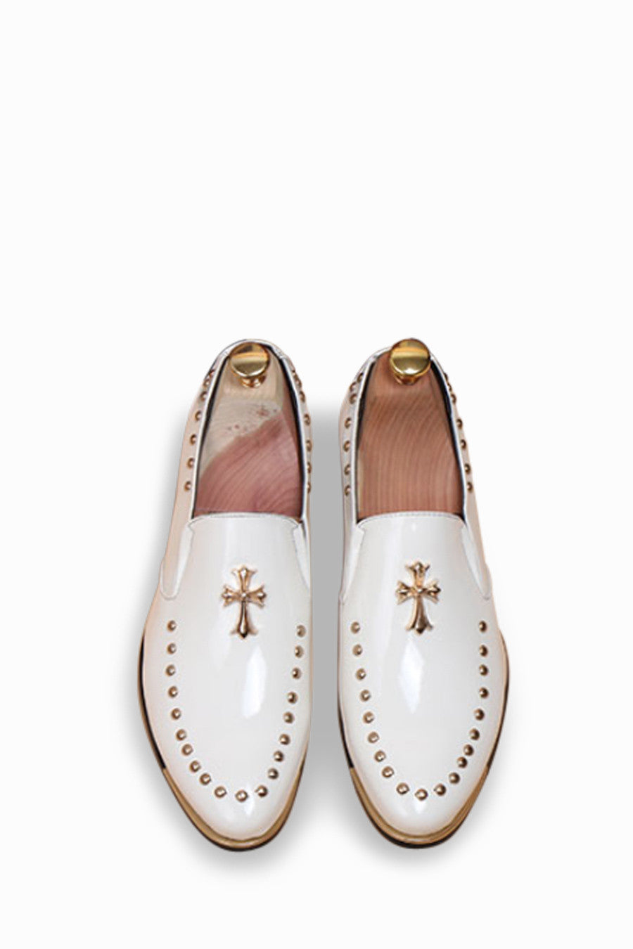 White Cross Studded Brogue Shoes