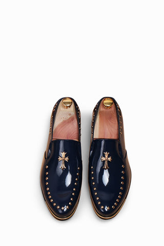 Navy Cross Studded Brogue Shoes