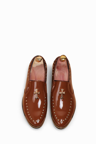 Brown Cross Brogue Shoes