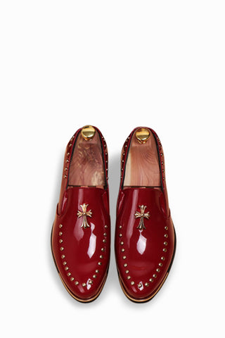 Burgundy Cross Studded Shoes
