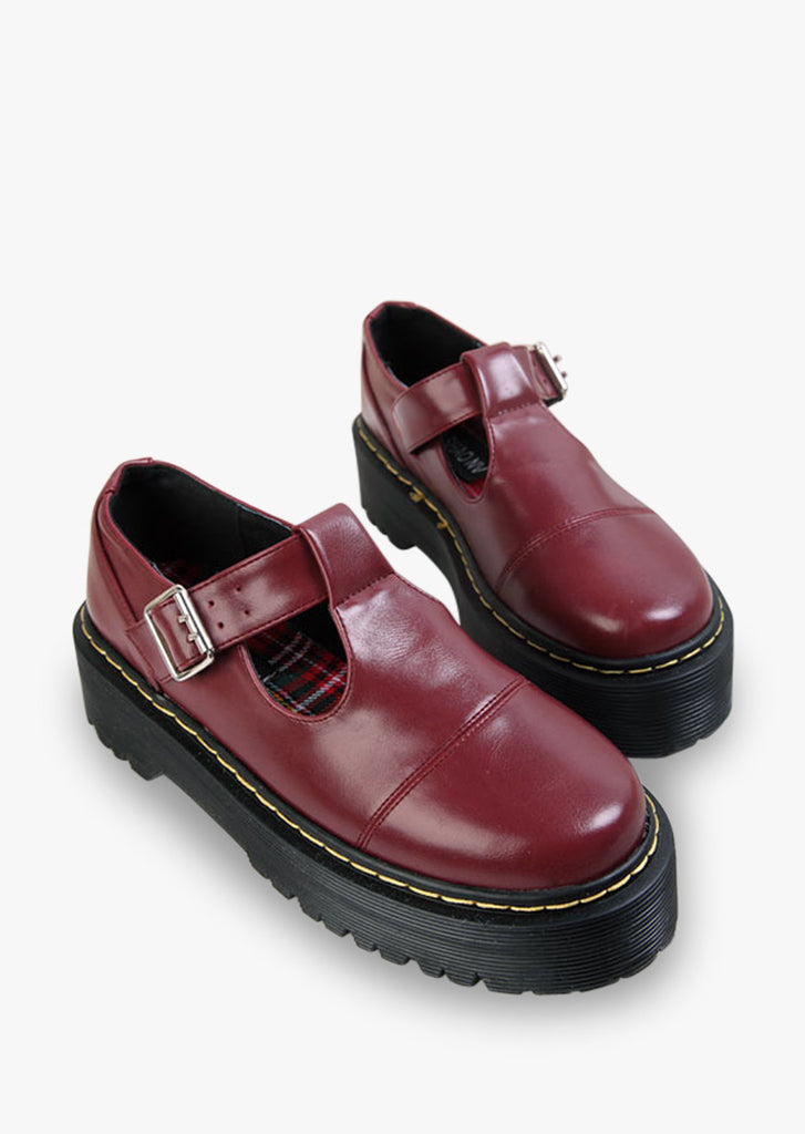 Natural Leather Burgundy Shoes