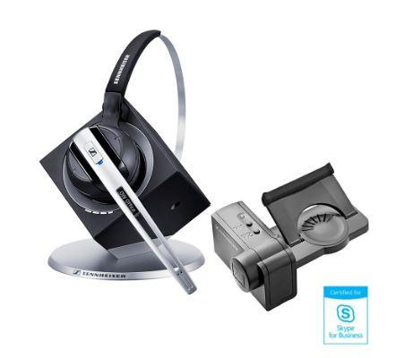 Sennheiser DW Pro 1 MS Monaural Wireless DECT Office Headset with Base Station & HSL10 Lifter - Skype for Business