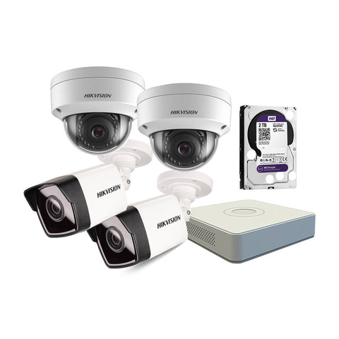 Hikvision Network HD Kit: 2x Dome Cameras, 2x Bullet Cameras & 18m Cables