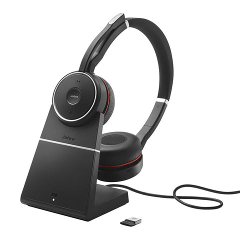 Jabra Evolve 75 MS Stereo Bluetooth Headset + Link 370 with Charging Stand