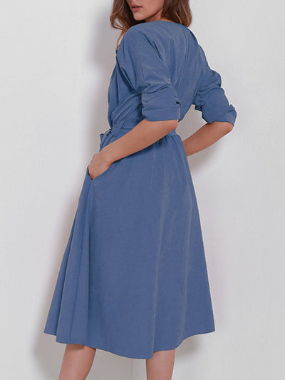 Daily Shirt Collar Swing Belts Long Sleeve Dress