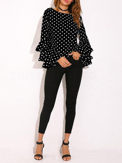 Crew Neck Frill Sleeve Polka Dots Casual Blouse