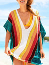 Rainbow Printed Knitting Loose Cover-up Top