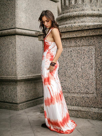 Printed Beach Sleeveless Maxi Dress
