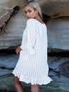 Flared Stripes Ruffled Cover-up Top