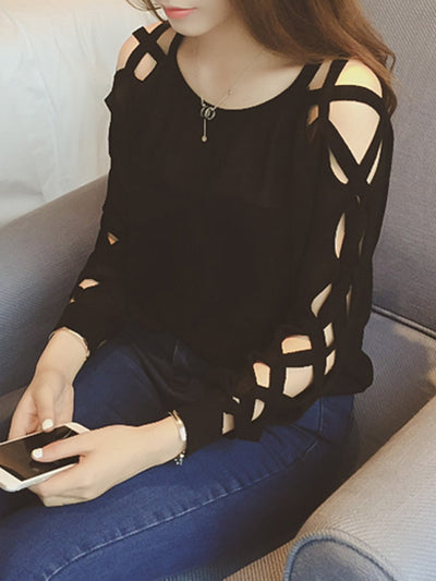 Casual Cutout Long Sleeve Solid Shirt