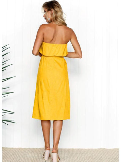 Solid Color Off-the-shoulder Midi Dresses