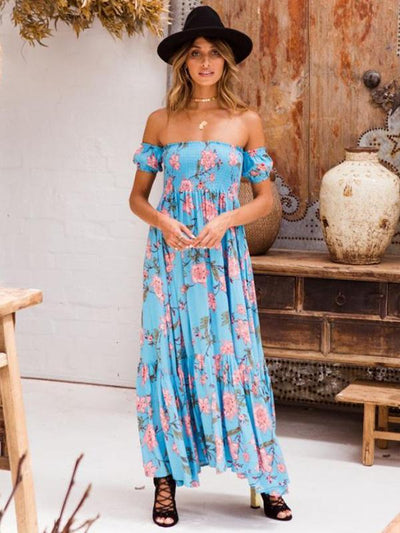 Floral Off-the shoulder Maxi Dresses
