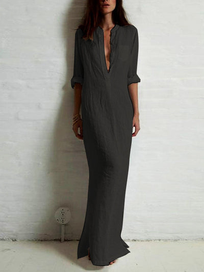 Casual Long Sleeve Solid A-line Plunging Neck Maxi Dress