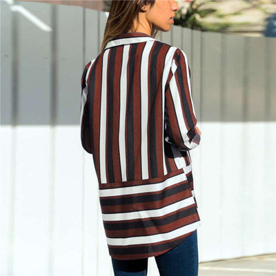 Casual Stripe Plus Long sleeve Blouses