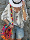 Fashion Stripe V neck Loose T-Shirts