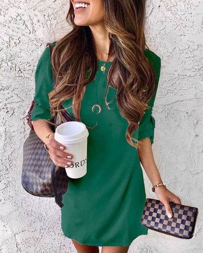 Fashion Pure Round neck Half sleeve Shift Dresses