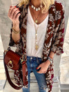Women floral printed long sleeve cardigans coats
