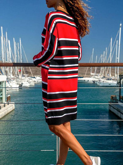 Loose long-sleeve stripe printed shift dresses