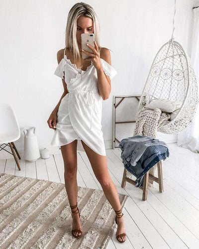 Pure Lace Off shoulder Vest Irregular Skater Dresses