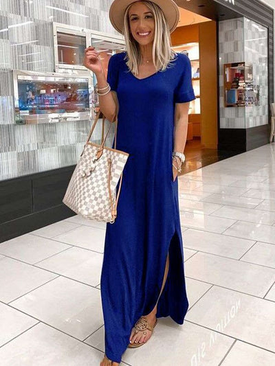 Casual Pure V neck Short sleeve Vent Maxi Dresses