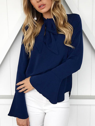 V Neck Frill Sleeve Solid Bow Blouse