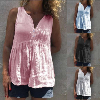 Casual Loose Pure V neck Sleeveless Gored T-Shirts
