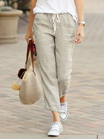 Fashion Casual Pure Lacing Pants