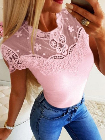 Lace round neck plain short sleeve T-shirts