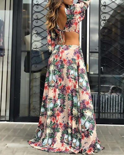 Fashion Print Hollow Long sleeve Vacation Dresses